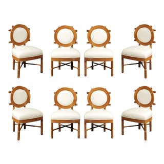 Stunning Restored Set of Eight Bamboo Dining Chairs with Exquisite Back Detail