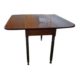Antique Rope-Leg Drop Leaf Breakfast Dining Table For Sale