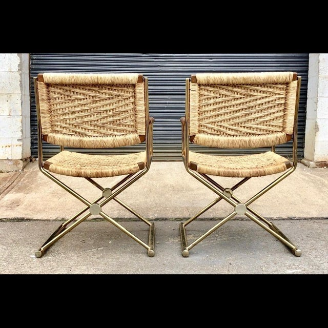 Mid Century Modern, Director Style Armchairs With Rush Seats and Backs - a Pair For Sale - Image 4 of 9