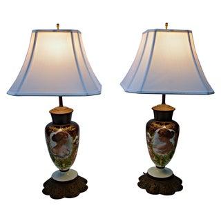 Antique Porcelain Lamps - Pair For Sale