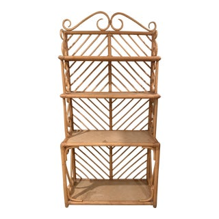 1970s Hollywood Regency Rattan Bakers Rack For Sale