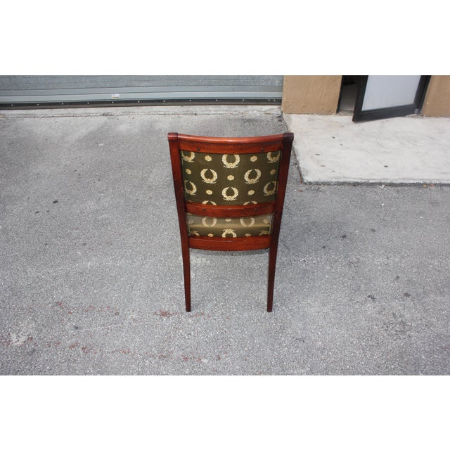 1910s Vintage French Empire Solid Mahogany Dining Chairs - Set of 6 For Sale - Image 11 of 13