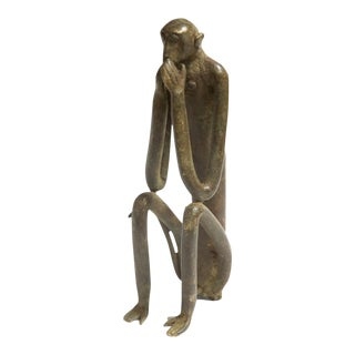 Large Seated Monkey Hands Covering Mouth Vintage African Bronze Sculpture For Sale