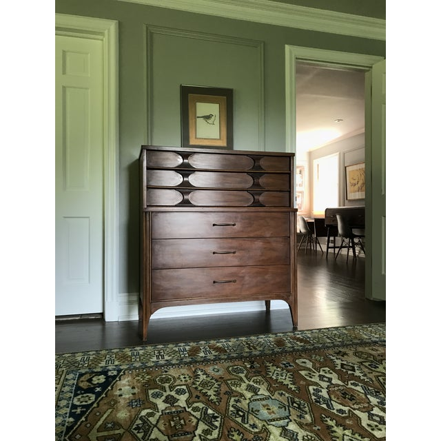 Brown 1960s Mid-Century Modern Kent Coffey Walnut & Rosewood Perspecta Highboy Dresser For Sale - Image 8 of 8