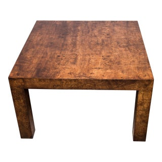 1970s Hollywood Regency Burl Wood Coffee Table For Sale