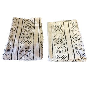 """African Black & White Mud Cloth Textiles Mali 40"""" by 60"""" S/2 For Sale"""