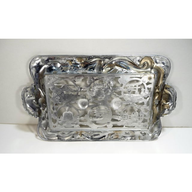 Mid 20th Century Vintage Asian Dragon Theme Chrome Tray With Matching Cobalt Cordial Glasses - Set of 7 For Sale - Image 5 of 11