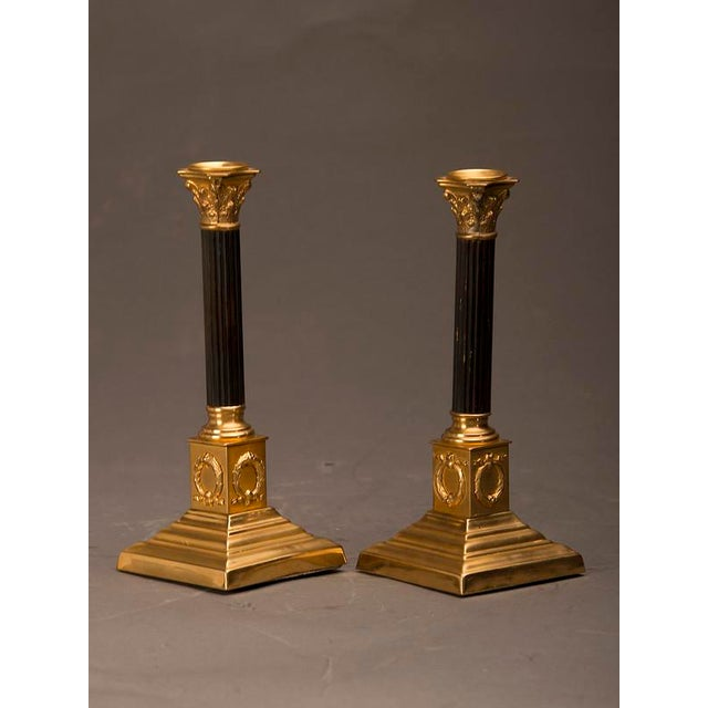 Empire 19th Century Empire Style Bronze Doré And Patinated Bronze Candlesticks - A Pair For Sale - Image 3 of 8