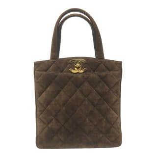 Chanel Brown Suede Top Handle Bag....1990's For Sale