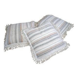 1970s Boho Chic Floor Pillows With Crochet Fringe - Set of 3 For Sale