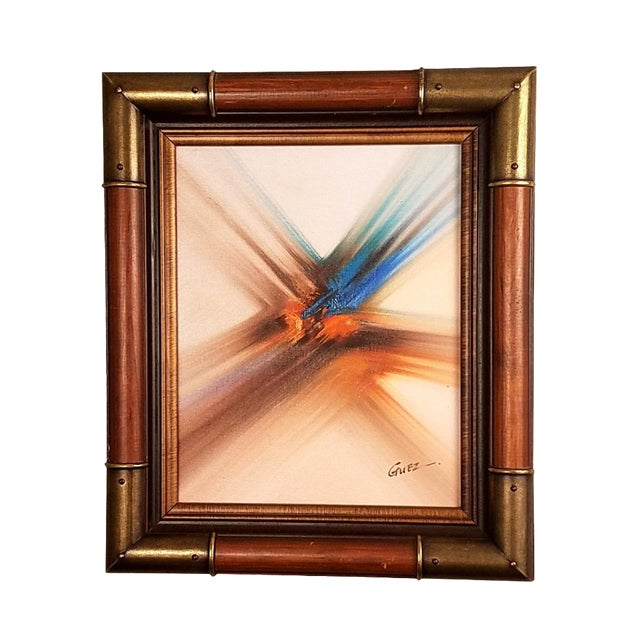 Vintage Abstract Oil Painting by Guez For Sale