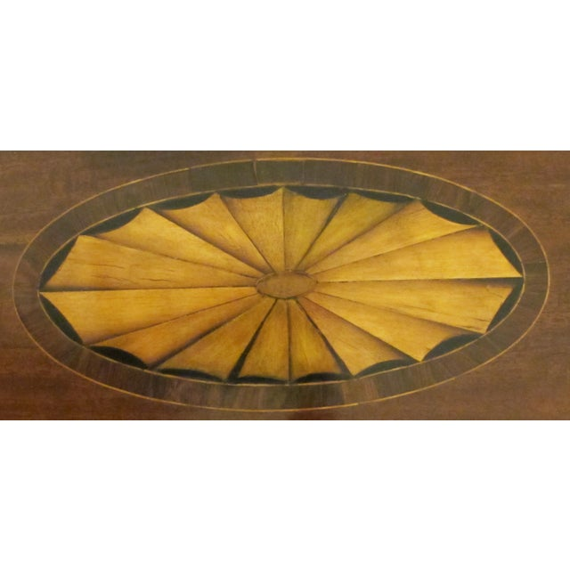 A Handsome English George III Style Oval Inlaid Tray on Stand For Sale - Image 4 of 5