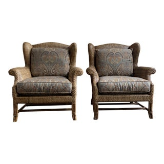 Baker Milling Road Rattan Wing Back Chairs - a Pair For Sale