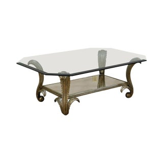 Lorin Marsh Italian Silver Giltwood Louis XV Style Glass Top Coffee Table For Sale