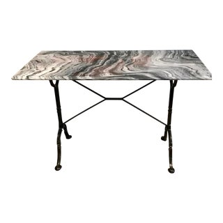 Marble and Iron French Style Bistro Table For Sale