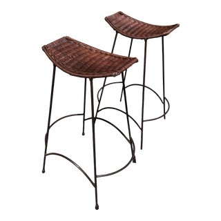 Vintage Mid Century Bar Stools Attributed to Arthur Umanoff Rattan - a Pair For Sale