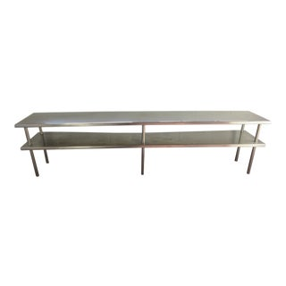 20th Century Industrial Age Stainless Steel Console Table For Sale