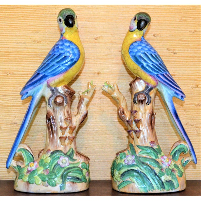This is a beautiful set of blue majolica parrots in a Chinese Import style detail. They have blue back feathers, golden...