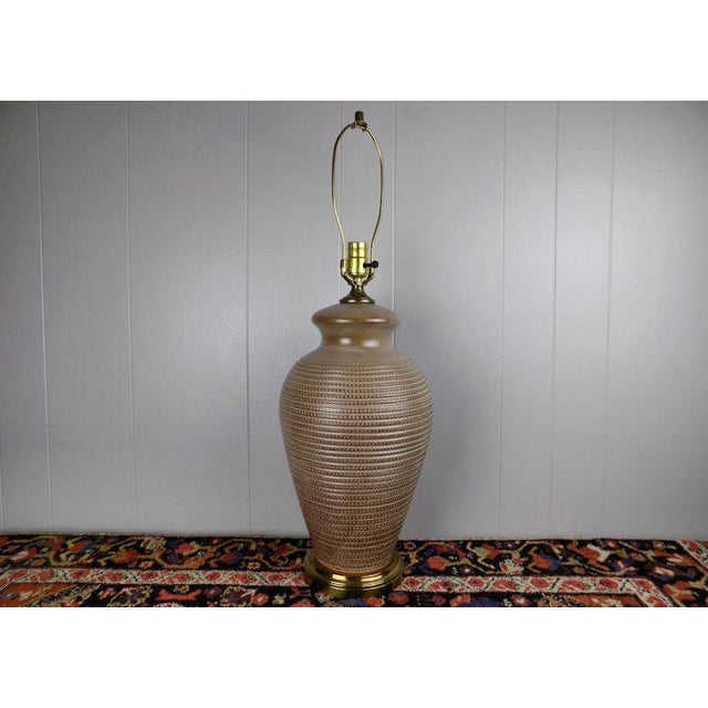 1970s Italian Incised Pottery Table Lamp For Sale - Image 6 of 13
