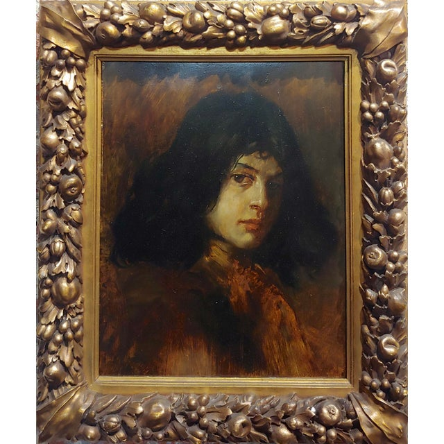 German School-Portrait of a good-looking Man-Oil painting-c1900s oil painting on panel - Signed and inscribed in verso...