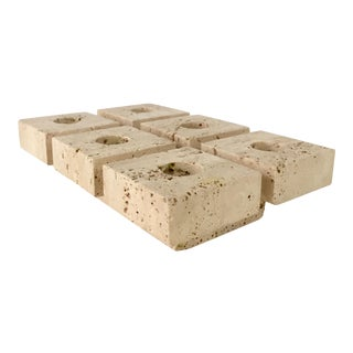 Mangiarotti Style Travertine Six Candle Holder
