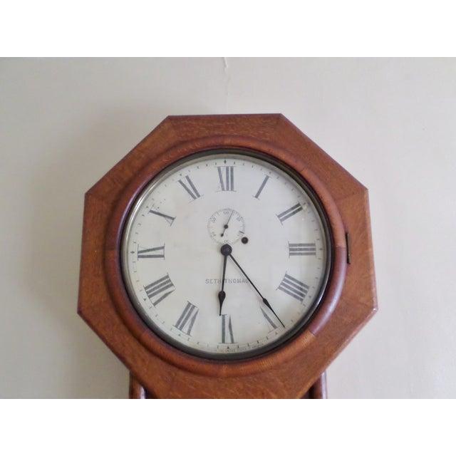 Antique Seth Thomas Regulator No. 18. Solid Oak Wood Wall Regulator Clock For Sale - Image 6 of 10