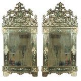 Image of Pair of German Clear Center Venetian Style Mirrors For Sale