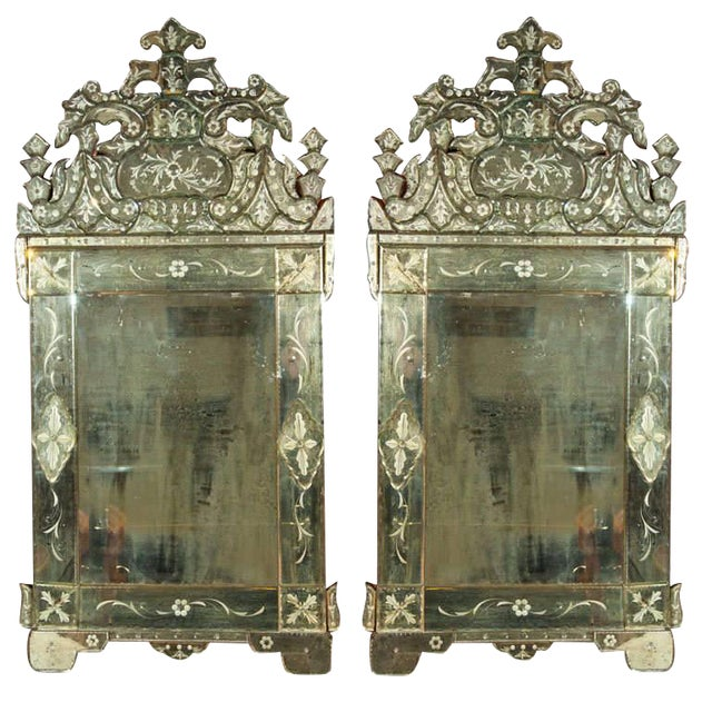 Pair of German Clear Center Venetian Style Mirrors For Sale