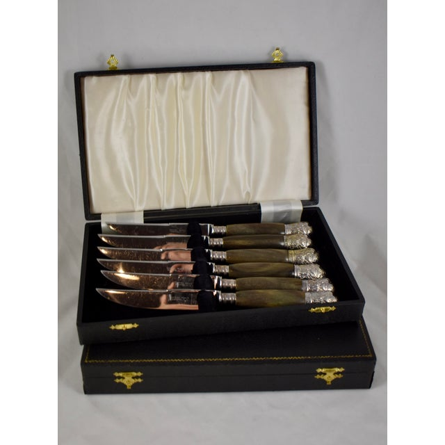 Sheffield English Horn & Silver Capped Steak Knives, a S/6 For Sale - Image 13 of 13