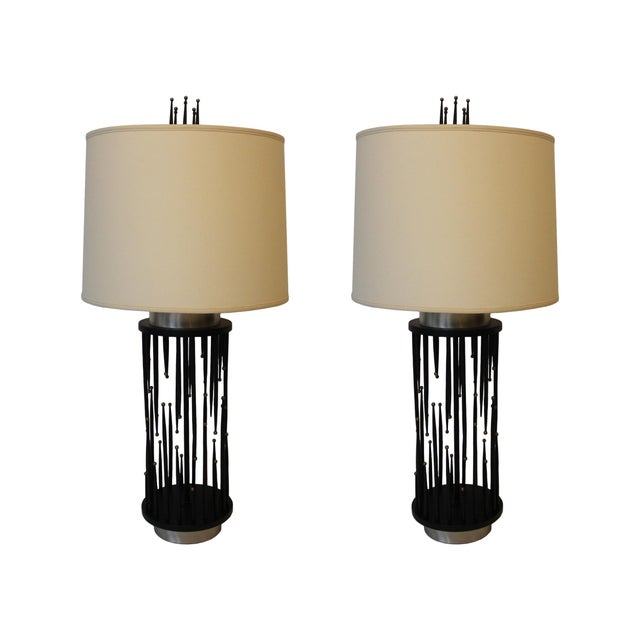 Brass 1960's Italian Stalagmite/Stalactite Table Lamps - A Pair For Sale - Image 7 of 7