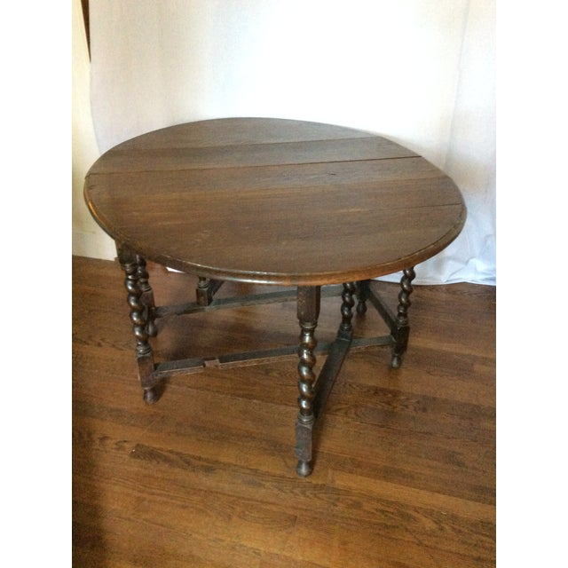 Barley Twist Leg, Drop Leaf Oval Dark Oak Dining Table For Sale - Image 4 of 13