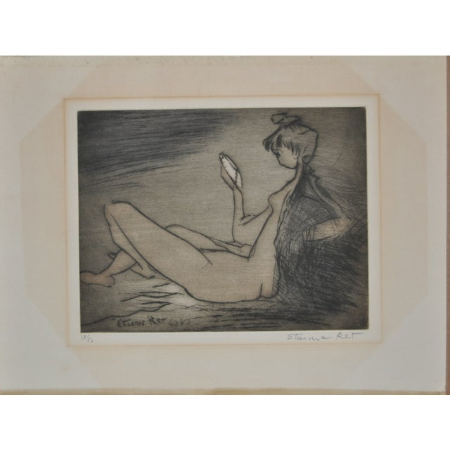 Vintage 1970's etching by listed French artist Etienne Ret (1900–1989) Pencil signed lower right. From a very limited...