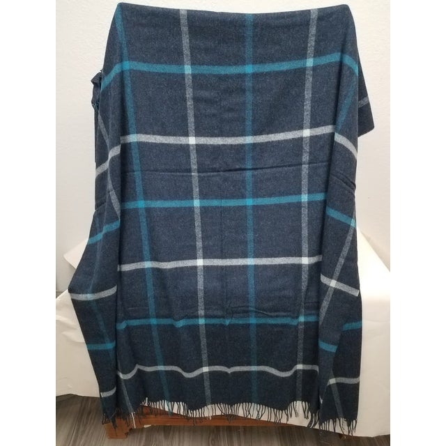 Merino Wool Throw Blue and Aqua - Made in England For Sale - Image 4 of 9