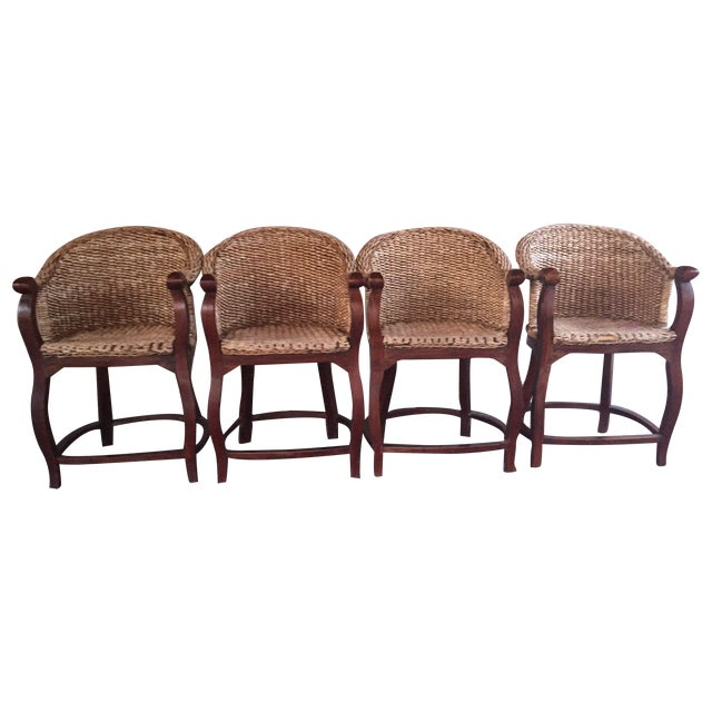 Vintage Banana Wicker Counter Stools - Set of 4 - Image 1 of 6