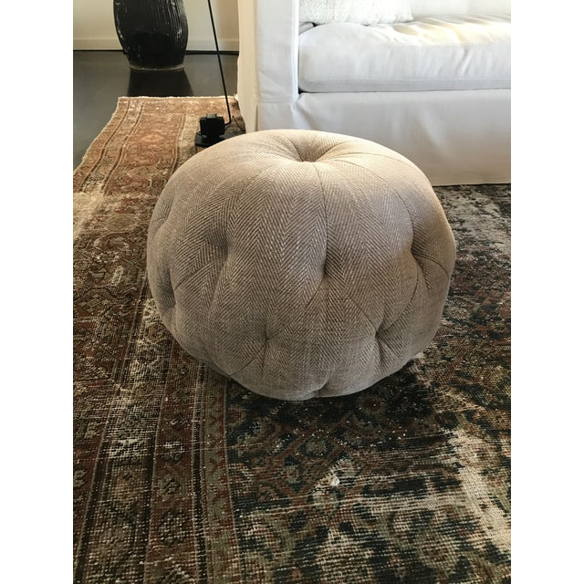 Cisco Home Custom Cashmere Gray Wool Pouf Ottoman - Image 2 of 4