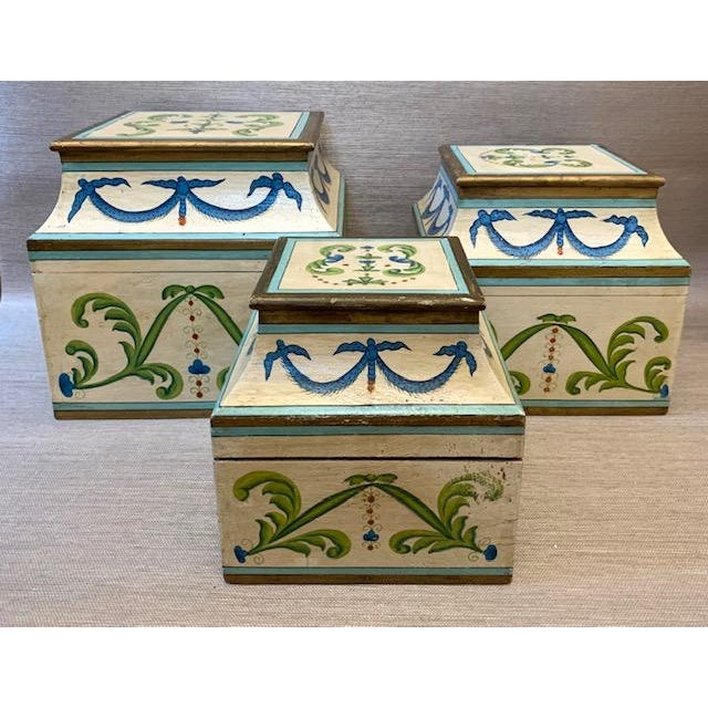 Antique Italian Leaves and Swags Painted Boxes - Set of 3 For Sale - Image 11 of 11