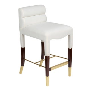 Gardner Counter Stool in White Linen For Sale
