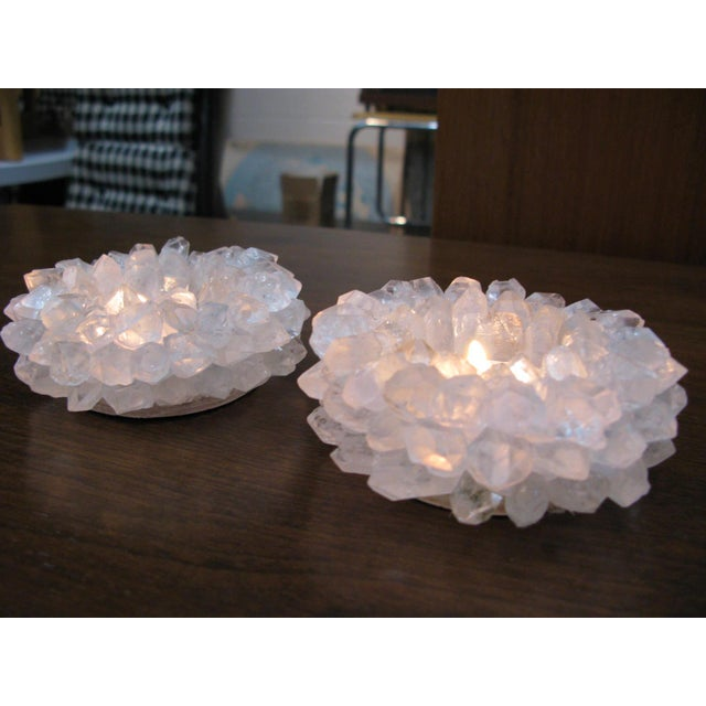 Clear Quartz Candle Holders - A Pair - Image 5 of 11
