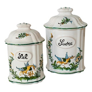 Lallier à Moustier French Faience Salt and Sugar Lidded Jars - the Set For Sale