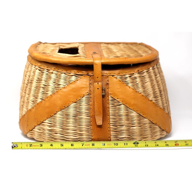 Vintage Leather and Wicker Fly Fishing Basket For Sale - Image 10 of 12