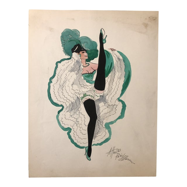 1950s Can Can Dancer, Painted in Paris by Alice Huertas For Sale