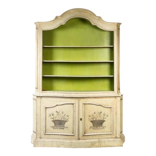 Elegant 19th Century Italian Neoclassical Painted Bookcase