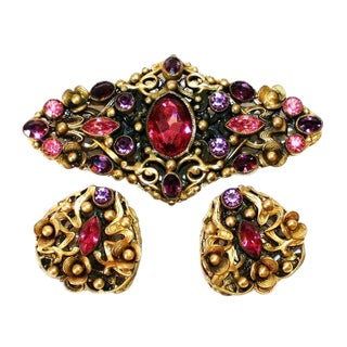 Czech Purple and Pink Brooch and Earrings, Czech Jewelry Set, 1930s Jewelry, 1940s Jewelry, Gifts for Her For Sale