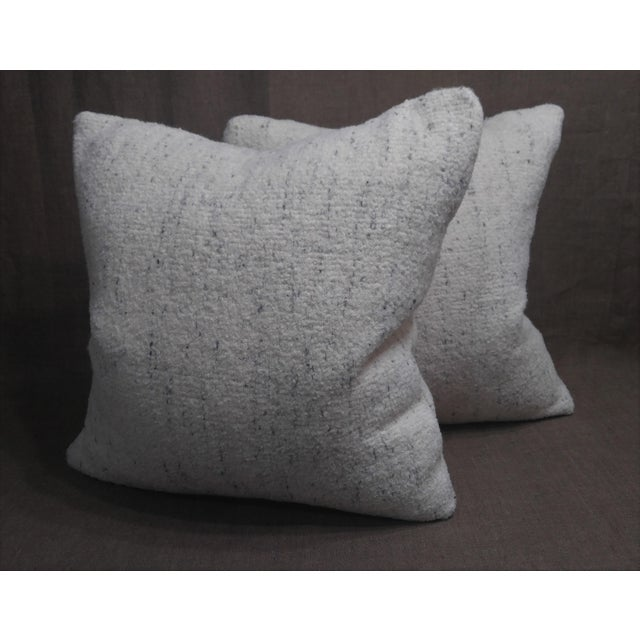 Pair of Rosemary Hallgarten Wool Fabric Alpaca Boucle Throw Pillows. Fabric #2-4933 Weave Strie Color Snow Cap, Down and...
