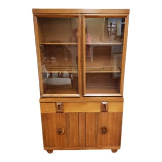 1950s Mid-Century Art Deco Maple China Display Cabinet For Sale