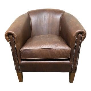 Restoration Hardware Barrel Back Leather Chair For Sale