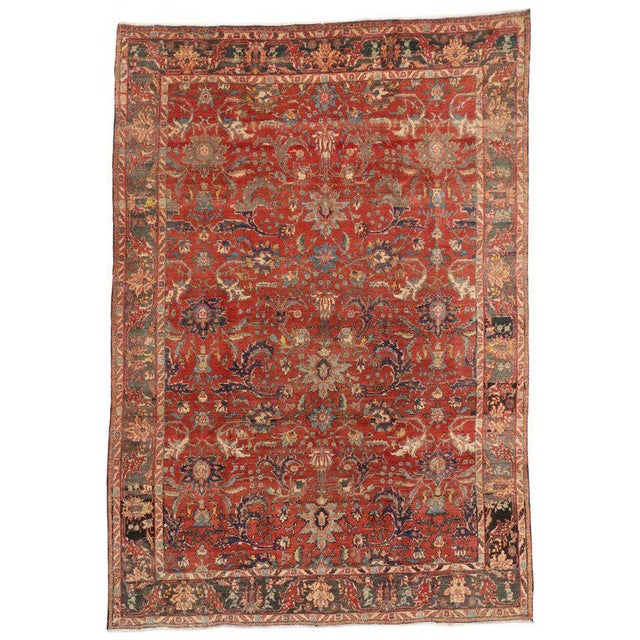 Mid 20th Century 1940s Vintage Persian Tabriz Area Rug - 7′3″ × 10′5″ For Sale - Image 5 of 5