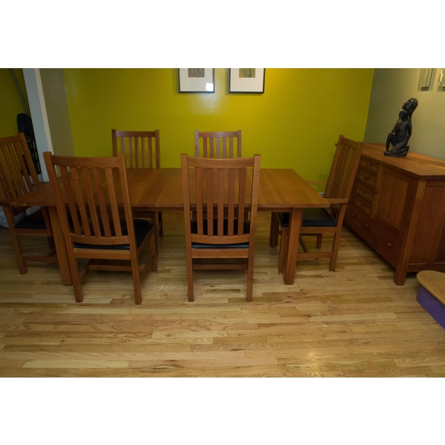 Mission Style Brazillian Cherry Wood Dining Set From Crate & Barrel For Sale In New York - Image 6 of 9