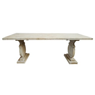 Rustic White Wash Dining Table For Sale