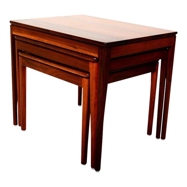 Set of 3 Kipp Stewart for Drexel Walnut Nesting Tables For Sale